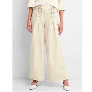 GAP Lace-Up Wide Leg Linen Khaki Pants Trousers